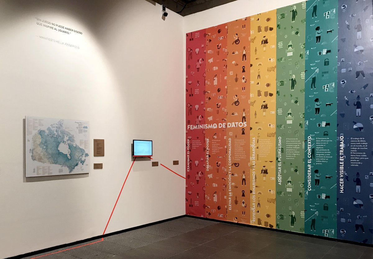 Data Feminism poster next to Margaret Pearce's map at the Abierto Diseño Mexicano